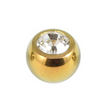 Titanium Threaded Jewelled Balls 1.6x4mm Gold metal, Crystal Clear Gem