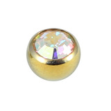 Titanium Threaded Jewelled Balls 1.6x4mm Gold metal, Crystal AB Gem
