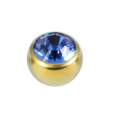 Titanium Threaded Jewelled Balls 1.6x4mm Gold metal, Sapphire Blue Gem