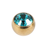 Titanium Threaded Jewelled Balls 1.6x4mm Gold metal, Turquoise Gem