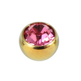 Titanium Threaded Jewelled Balls 1.6x4mm Gold metal, Pink Gem