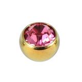 Titanium Threaded Jewelled Balls 1.6x4mm Gold metal, Pink Gem