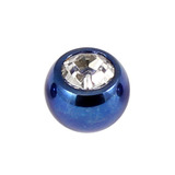 Titanium Threaded Jewelled Balls 1.6x4mm Blue metal, Crystal Clear Gem