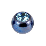 Titanium Threaded Jewelled Balls 1.6x4mm Blue metal, Light Blue Gem