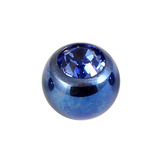 Titanium Threaded Jewelled Balls 1.6x4mm Blue metal, Sapphire Blue Gem