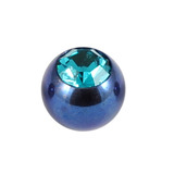 Titanium Threaded Jewelled Balls 1.6x4mm Blue metal, Turquoise Gem