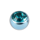 Titanium Threaded Jewelled Balls 1.6x4mm Ice Blue metal, Turquoise Gem