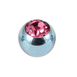 Titanium Threaded Jewelled Balls 1.6x4mm Ice Blue metal, Pink Gem