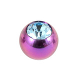 Titanium Threaded Jewelled Balls 1.6x4mm Purple metal, Light Blue Gem