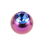 Titanium Threaded Jewelled Balls 1.6x4mm Purple metal, Sapphire Blue Gem