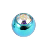 Titanium Threaded Jewelled Balls 1.6x4mm Turquoise metal, Crystal AB Gem