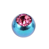 Titanium Threaded Jewelled Balls 1.6x4mm Turquoise metal, Pink Gem