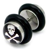 Steel Logo Fake Plugs 1.2x4.5mm shaft. / Skull & Crossbones / 6mm disks