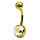 Titanium Single Jewelled Belly Bars 12mm Anodised Gold, Crystal AB