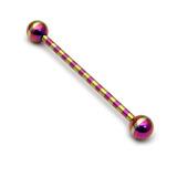 Steel Striped Industrial Scaffold Barbell 1.6mm 30-40mm 1.6mm, 34mm, Purple-Gold