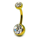 Titanium Double Jewelled Belly Bars 8mm Anodised Gold, Crystal Clear