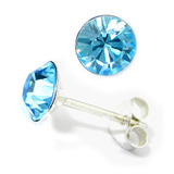 Silver Crystal Studs ST8 - ST9 - ST10 6mm Light Blue (ST9)