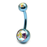 Titanium Double Jewelled Belly Bars 8mm Anodised Ice Blue, Crystal AB