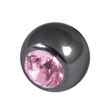Black Steel Threaded Jewelled Balls (1.2x3mm) Light Pink