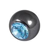 Black Steel Threaded Jewelled Balls (1.6x6mm) Light Blue