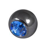 Black Steel Threaded Jewelled Balls (1.6x6mm) Sapphire Blue