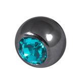 Black Steel Threaded Jewelled Balls (1.6x6mm) Turquoise