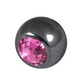 Black Steel Threaded Jewelled Balls (1.6x6mm) Pink