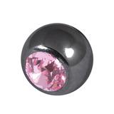 Black Steel Threaded Jewelled Balls (1.6x6mm) Light Pink
