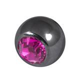 Black Steel Threaded Jewelled Balls (1.6x6mm) Fuchsia