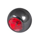 Black Steel Threaded Jewelled Balls (1.6x6mm) Red