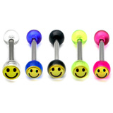 Acrylic Smiley Tongue Barbell 1.6x14mm (most popular) / Pack of all 5 shown / 6
