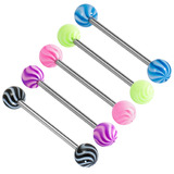 Acrylic Twister Barbell 1.6x12mm / 6 / Pack of all 5 shown