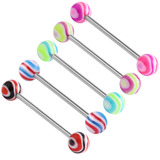 Acrylic Wave Barbell 1.6x10mm / 5 / Pack of all 5 shown