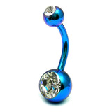 Titanium Double Jewelled Belly Bars 12mm Anodised Turquoise, Crystal Clear