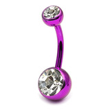 Titanium Double Jewelled Belly Bars 12mm Anodised Pink-Purple, Crystal Clear