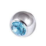 Titanium Threaded Jewelled Balls 1.2x2.5mm Mirror Polish metal, Light Blue Gem