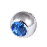 Titanium Threaded Jewelled Balls 1.2x2.5mm Mirror Polish metal, Sapphire Blue Gem