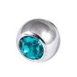 Titanium Threaded Jewelled Balls 1.2x2.5mm Mirror Polish metal, Turquoise Gem