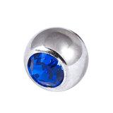 Titanium Threaded Jewelled Balls 1.2x2.5mm Mirror Polish metal, Capri Blue Gem