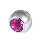 Titanium Threaded Jewelled Balls 1.2x2.5mm Mirror Polish metal, Fuchsia Gem