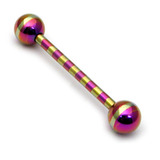 Steel Striped Barbell 1.6mm 10-16mm 10 / Purple-Gold