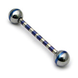 Steel Striped Barbell 1.6mm 10-16mm 16 / Polished-Blue