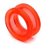 Acrylic Screw Flesh Tunnel 10-24mm 18mm, Red