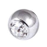 Titanium Threaded Jewelled Balls 1.6x5mm Mirror Polish metal, Crystal Clear Gem