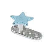 Titanium Dermal Anchor with Titanium Star Top 2.5mm, Ice Blue