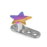 Titanium Dermal Anchor with Titanium Star Top 2.5mm, Rainbow
