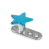 Titanium Dermal Anchor with Titanium Star Top 2.5mm, Turquoise