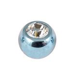 Titanium Threaded Jewelled Balls 1.6x6mm Ice Blue metal, Crystal Clear Gem