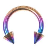 Titanium Coned Circular Barbells (CBB) (Horseshoes) 1.2mm x 12mm, Rainbow