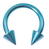 Titanium Coned Circular Barbells (CBB) (Horseshoes) 1.2mm x 12mm, Turquoise